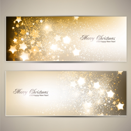 sheet menu: Set of Elegant Christmas banners with stars. Vector illustration