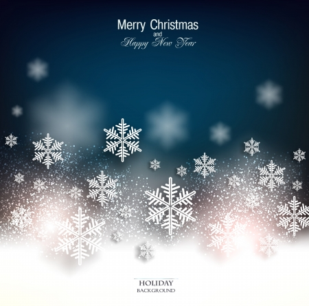 christmas flake: Elegant Christmas background with snowflakes and place for text. Vector Illustration.