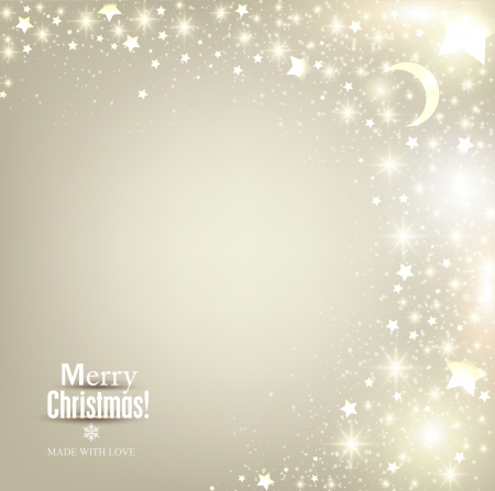 Elegant Christmas background with stars and place for text. Vector Illustration. Vector