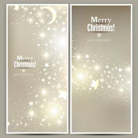 elegant christmas: Set of Elegant Christmas banners with stars. Vector illustration