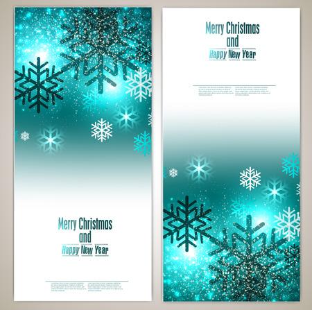 Set Elegant Christmas Banner mit Schneeflocken. Vektor-Illustration