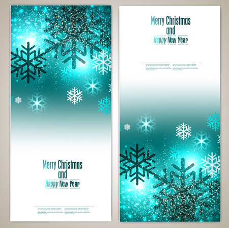 Set of Elegant Christmas banners with snowflakes. Vector illustration Vector