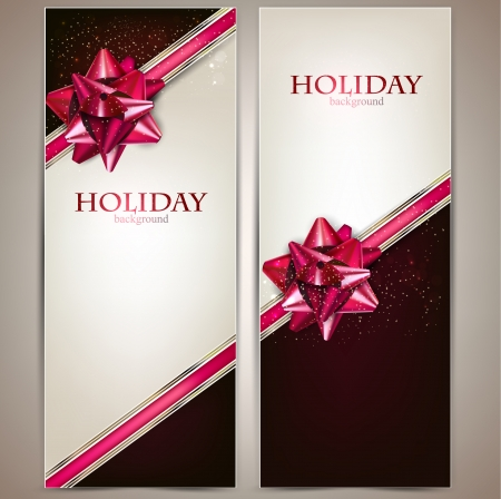 Greeting cards with red bows and copy space. Vector illustration Vector