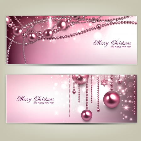 Set of Elegant Christmas banners with baubles and stars. Vector illustration Illustration