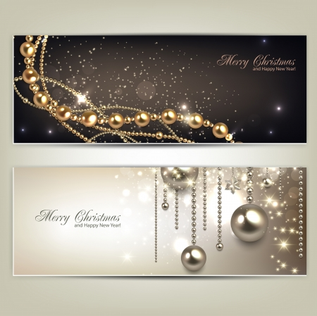 baubles: Elegant christmas banners with golden baubles and stars. Vector illustration