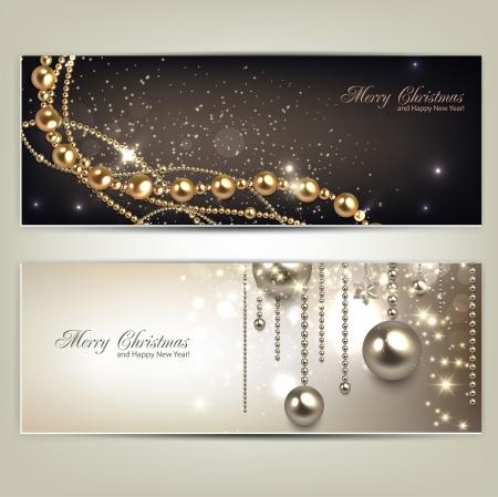 navidad elegante: Elegante banners de Navidad con adornos de oro y estrellas. Ilustración vectorial