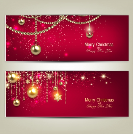 baubles: Set of Elegant Red Christmas banners with golden baubles and stars. Vector illustration