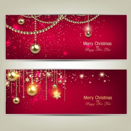 slingers: Set van elegante rode banners van Kerstmis met gouden kerstballen en sterren. Vector illustratie Stock Illustratie