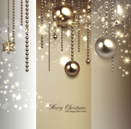baubles: Elegant christmas background with golden baubles and stars. Vector illustration Illustration
