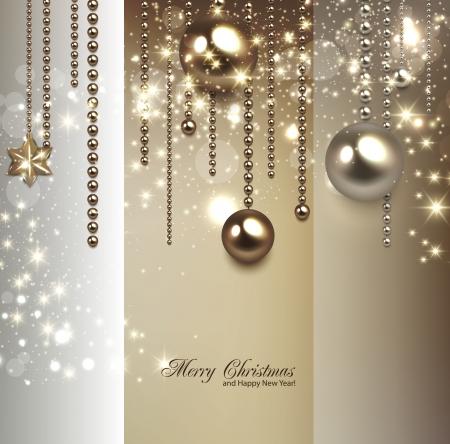 elegante: Elegante sfondo Natale con palline d'oro e stelle. Vector illustration Vettoriali