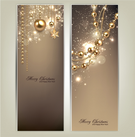 sparkles: Elegant christmas banners with golden baubles and stars. Vector illustration