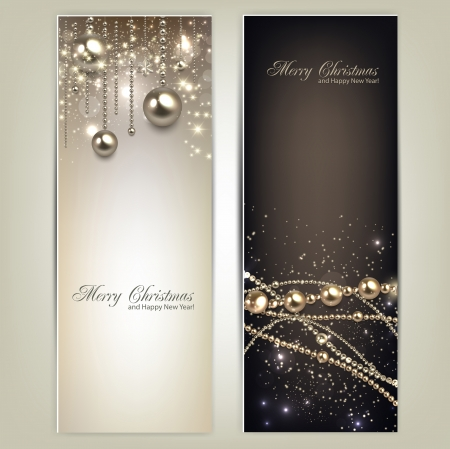 new years eve background: Elegant christmas banners with golden baubles and stars. Vector illustration