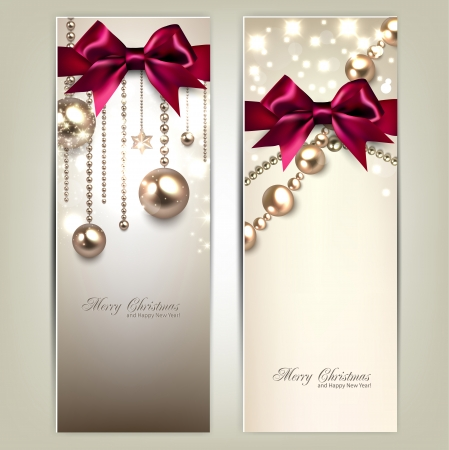 Elegant Christmas banners with golden baubles and red bows. Vector illustration Çizim