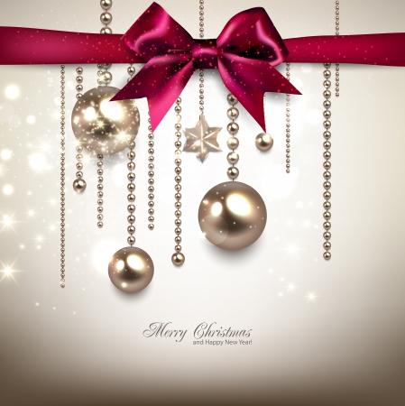 エレガントなクリスマス背景赤い弓と黄金のガーランド。ベクトル イラスト