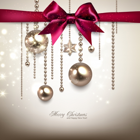 Elegant Christmas background with red bow and golden garland. Vector illustration Vector