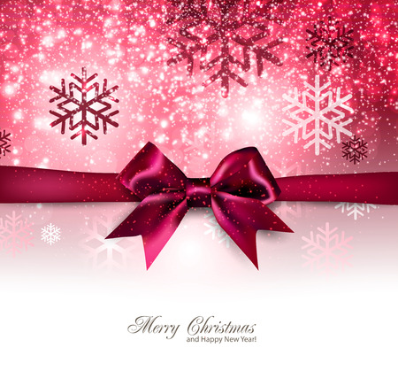 Elegant Christmas background with red bow, snowflakes and place for text. Vector Illustration