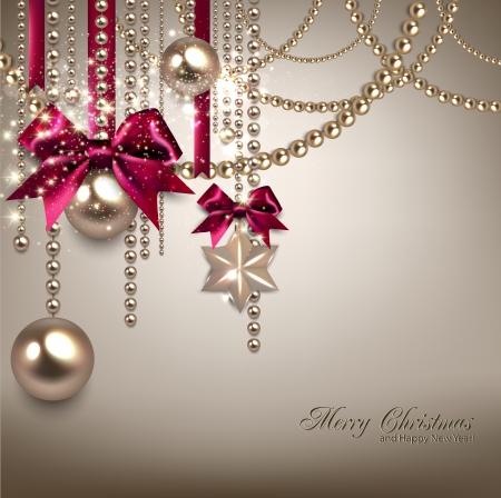 エレガントなクリスマス背景に赤いリボン、黄金のガーランド。ベクトル イラスト