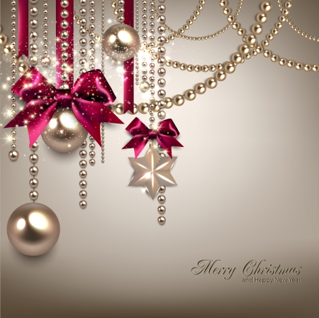 baubles: Elegant Christmas background with red ribbons and golden garland. Vector illustration