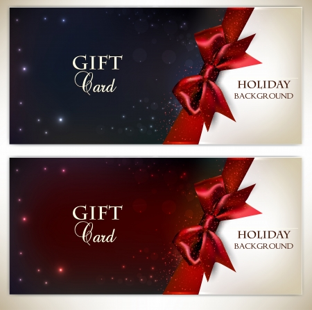 wrappings: Holiday banners with red bows and copy space. Vector illustration
