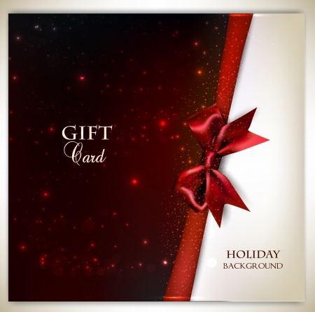 Elegant holiday background with red bow and place for text. Vector illustration