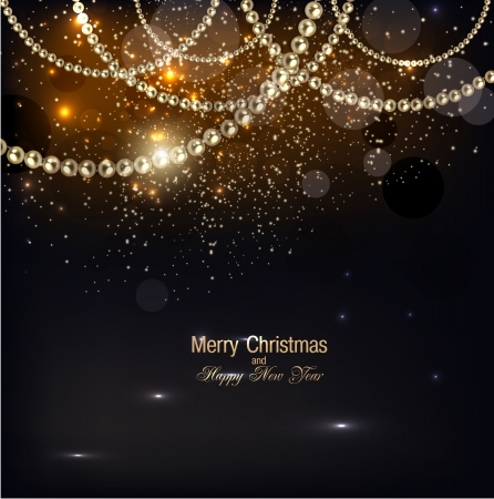 elegante: Elegante sfondo di Natale con ghirlanda d'oro. Vector illustration Vettoriali