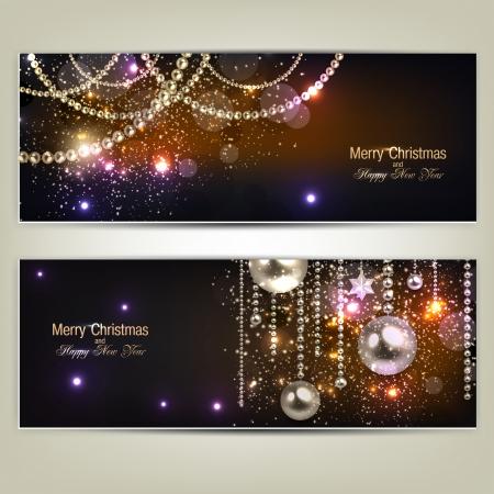 navidad elegante: Juego de elegantes banderas de Navidad con guirnalda de oro. Ilustraci�n vectorial Vectores