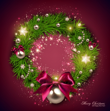 Elegant Christmas wreath with stars and bow. Vector
