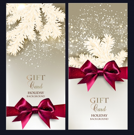 christmas eve: Greeting Christmas cards with bows and copy space. Vector illustration