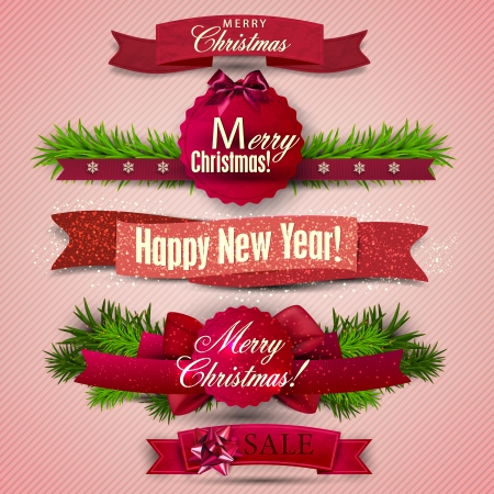 christmas menu: Set of  Ribbons, Labels, Tags Merry Christmas and Happy New Year !