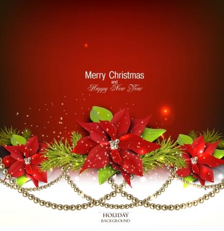 dorado: Fondo elegante con guirnalda de Navidad. Ilustración vectorial Vectores