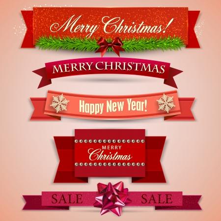 """Set von Bändern, Labels, Tags """"Frohe Weihnachten und Happy New Year!"""""""