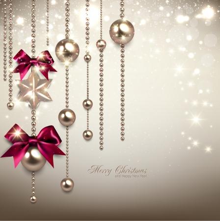 エレガントなクリスマスの背景に赤いリボン、黄金ガーランド。ベクトル図