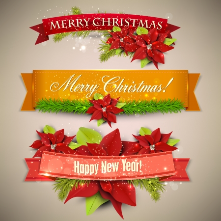 merry christmas text: Set of  Ribbons, Labels, Tags Merry Christmas and Happy New Year !