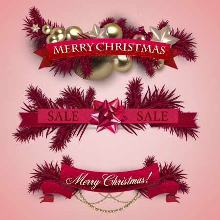 Set of  Ribbons, Labels, Tags Merry Christmas and Happy New Year ! Vector