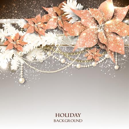 クリスマスの花輪を持つエレガントな背景。ベクトル イラスト