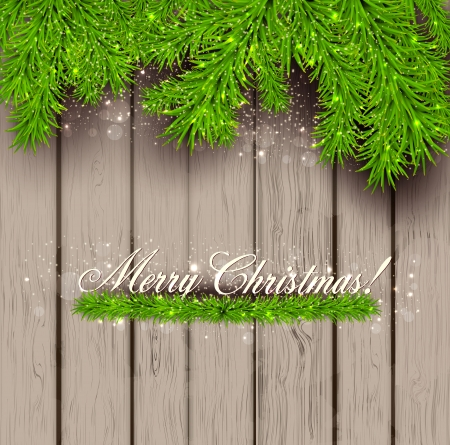 Wooden  texture and Christmas fir tree. Vector Illustration Vector