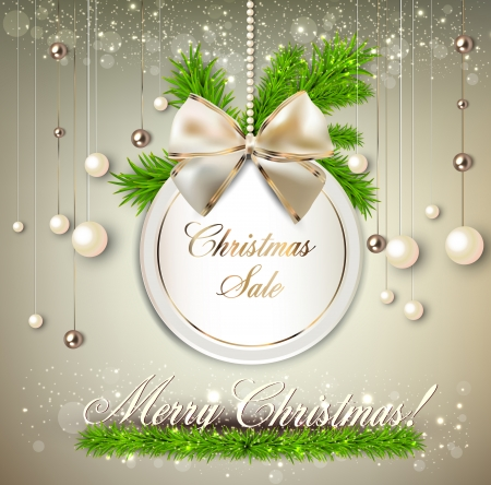 紙ラウンドの休日ラベル「クリスマス セール」。ベクトル テンプレート  イラスト・ベクター素材