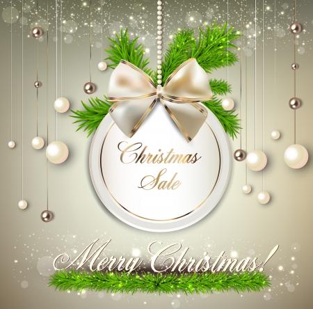 """종이 라운드 휴일 라벨 """"크리스마스 판매"""". 벡터 템플릿 일러스트"""