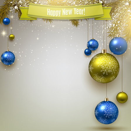 Christmas background with fir twigs and colorful balls. Xmas baubles.Vector illustration. Vector