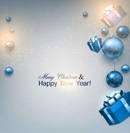 Hintergrund Weihnachten mit Geschenken und blauen Kugeln. Weihnachten baubles.Vector Abbildung.