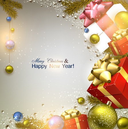 twigs: Christmas background with fir twigs, gifts and colorful balls. Xmas baubles.Vector illustration.