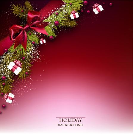 전나무 나뭇 가지 화환과 크리스마스 공 크리스마스 배경입니다. 붉은 나비. 벡터 일러스트 레이 션.