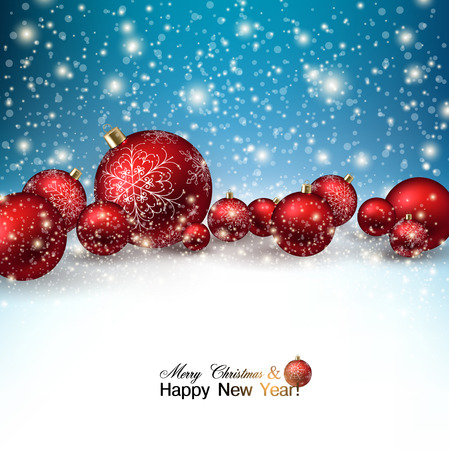 a holiday greeting: Beautiful Christmas red balls on snow.  Red Xmas baubles. Vector