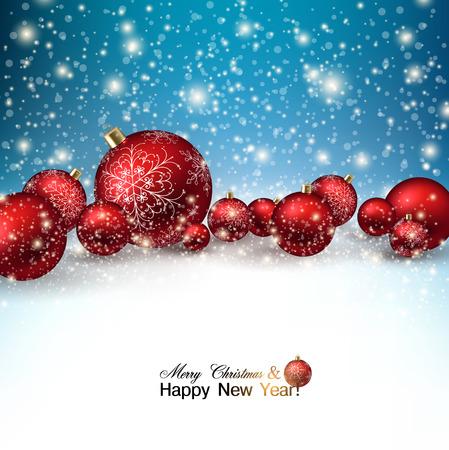 christmas template: Belle palle rosse di Natale sulla neve. Bagattelle rosse di natale. Vettore