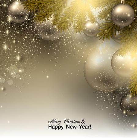 Weihnachten Hintergrund mit Kugeln. Goldene Weihnachtskugeln. Vektor