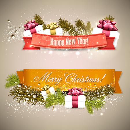 """Set van Linten, Labels, Tags """"Vrolijk Kerstfeest en Gelukkig Nieuwjaar!"""""""