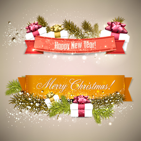 Set of  Ribbons, Labels, Tags Merry Christmas and Happy New Year !