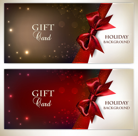 Holiday banners with red bows and copy space. Vector illustration
