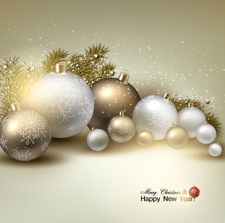 Christmas balls, golden Xmas baubles. Garland. Vector Vector