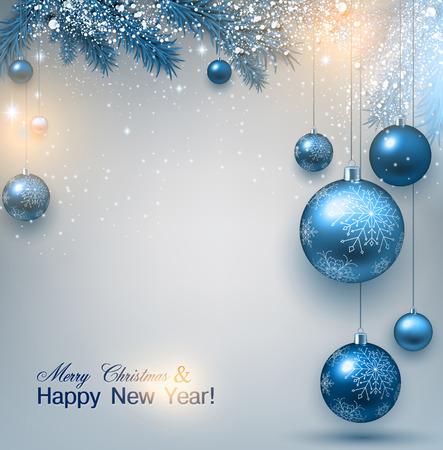 elegante: Sfondo blu di Natale con rami di abete e palline. Xmas baubles.Vector illustrazione. Vettoriali